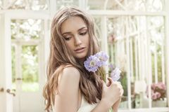 Sweet Portrait of Young Beautiful Woman Fashion Model. Outdoors Stock Image