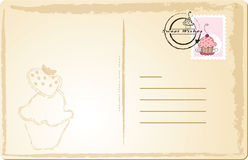 Sweet post card. Vector illustration of post card with cupcake stamp Stock Image