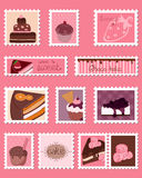 Sweet Postage Stamps vector Set. On pink Royalty Free Stock Photos