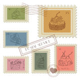 Sweet Postage Stamps . Sweet Postage Stamps vector Set Royalty Free Stock Photo