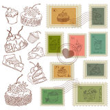 Sweet postage stamps vector set Royalty Free Stock Photos