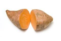 Sweet potato. Two halves of a cut sweet potato isolated on white studio background Stock Photography