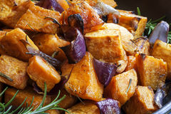 Sweet Potato baked with Red Onions and Rosemary Royalty Free Stock Photography