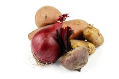 Sweet Potato with Beetroot, Onion and Potatoes Royalty Free Stock Photos