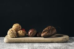 Sweet potato, chestnuts and Catalan panellets stock photography