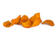 Sweet Potato Chips over White. Sweet Potato Chips,  on white background Royalty Free Stock Photography