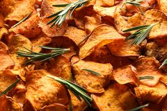 Sweet potato chips with rosemary as background. Closeup stock image