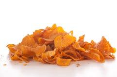 Sweet potato chips. On white background Stock Photo