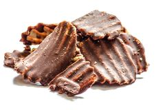 Sweet potato chocolate  chips on white ground Stock Photo