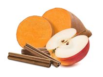 Sweet potato, cinnamon and red apple isolated on white backgroun Royalty Free Stock Image