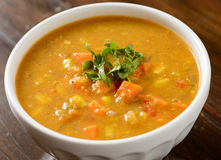 Sweet potato corn soup in bowl Stock Images