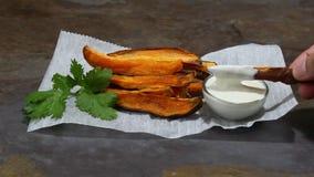 Sweet potato fries stock footage