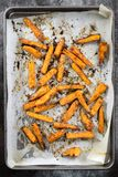 Sweet Potato Fries on Oven Tray Top View stock photo