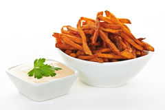 Sweet potato fries with sauce Royalty Free Stock Images