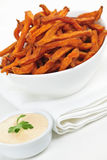 Sweet potato fries with sauce Royalty Free Stock Photography