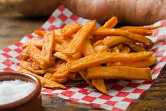 Sweet Potato Fries. A serving of delicious deep fried sweet potato fries Stock Photos