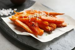 Sweet potato fries on slate board. Closeup royalty free stock images