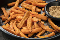 Sweet Potato Fries with Spiced Salt Stock Photography