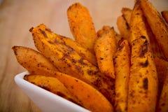 Sweet potato fries. Spicy sweet potato fries basket Stock Photo