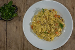 Sweet Potato, Goat S Cheese And Red Onion Tagliatelle Plate From Above Stock Photo