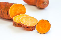 Sweet Potato Isolated on White Light Background, Horizontal Stock Images