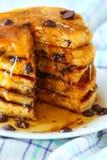 Sweet Potato Pancakes with Chocolate Chips Stock Photo