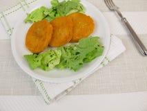 Sweet potato pancakes and salad Stock Photography