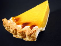Sweet Potato Pie. A slice of sweet potato pie on a black background Stock Images