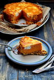 Sweet Potato Pie with Cream Cheese Swirl Royalty Free Stock Photography