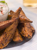 Sweet Potato Skins with a Blue Cheese Dip royalty free stock photography