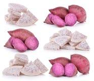 Sweet potato and slice taro root. On white background Stock Photography