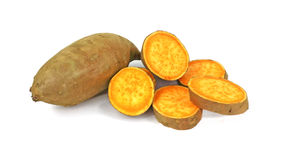 Sweet Potato and Slices Stock Photography