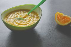 Sweet Potato Soup with Fennel and Orange royalty free stock photos