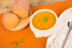 Sweet potato soup Stock Images