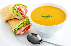 Sweet potato soup and wrap sandwich Stock Photos