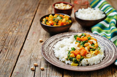 Sweet potato spinach chickpea curry with rice Stock Image