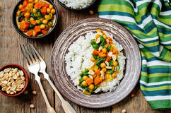 Sweet potato spinach chickpea curry with rice Royalty Free Stock Photos