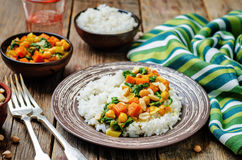 Sweet potato spinach chickpea curry with rice Royalty Free Stock Image