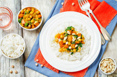 Sweet potato spinach chickpea curry with rice Royalty Free Stock Images