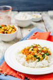 Sweet potato spinach chickpea curry with rice Royalty Free Stock Photography