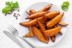 Sweet potato wedges Royalty Free Stock Photos