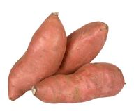 Sweet potatoe. Three sweet potatoes isolated on white background Stock Images