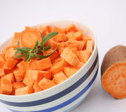 Sweet potatoes. Some fresh sweet potatoes in a bowl Royalty Free Stock Photos