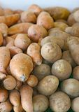 Sweet Potatoes. Two kinds of sweet potatoes stacked next to each other with foreground focus Stock Photo