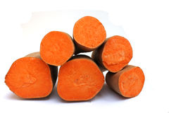 Sweet Potatoes. Cut in half, cut side facing the camera Stock Photography