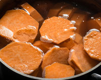Sweet potatoes boiling in a cook pot Royalty Free Stock Image