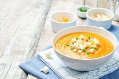 Sweet potatoes cauliflower soup Royalty Free Stock Image