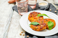 Sweet potatoes chickpea cilantro oats vegan burgers. Toning. selective focus royalty free stock photography