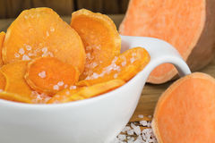 Sweet potatoes chips with salt Royalty Free Stock Photo