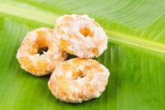 Sweet potatoes dough nut ring on banana leaf Stock Images